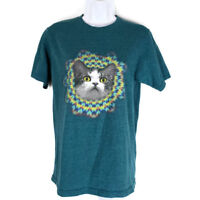 Hybrid Cat Tee Shirt Small Unisex Color Green Blue Short Sleeves