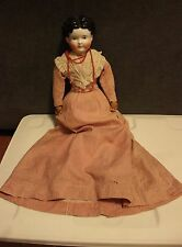 "Antique Black Molded Hair China Head Doll 22"" Rosy Cheeks Cloth Hands & Body OLD"