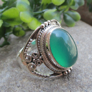 Solid 925 Sterling Silver Green Onyx Gemstone Ring Handmade Woman's day Jewelry