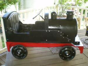 vintage style train pedal car solid metal & rubber tyres steam punk style train