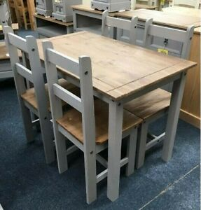 Rustic Dining Table and 4 Chairs Set Country Farmhouse Kitchen Breakfast Grey