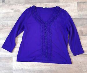Precis Size Medium Purple Ruffle V Neck 3/4 Sleeve Jersey Top