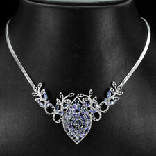 Sterling Silver Blue Violet Tanzanite and Blue Sapphire Necklace 19 1/2 Inch