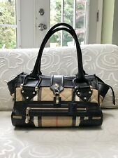 """EUC Burberry Tote Handbags """"Manor"""" Quilted House Check Black Leather Gorgeous"""