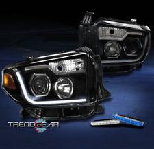 2014-2017 TOYOTA TUNDRA BLACK PROJECTOR LED BAR HEADLIGHTS W/BLUE SIGNAL DRL KIT