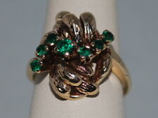 10k Gold ring with Emeralds(May birthstone) and a beautiful design