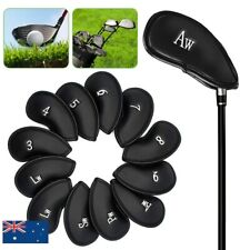 12x PU Leather Head Cover Golf Iron Club Putter Headcover 3-SW Set Black