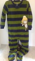 New Boy's Carter's Footed 1 Pc Pajamas Navy/Green Stripe Monkey 3T 4T NWT