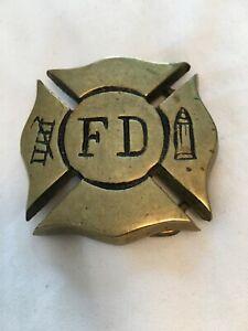Vintage SQUARE Brass Belt Buckle Firefighter Fire Department MALTESE CROSS 2X2