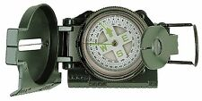 Military Compass Liquid Filled OD Olive Drab w/ Side Ruler & Magnifying Glass