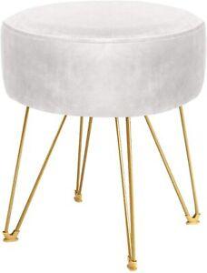 ERONE Round Footstool Ottoman Velvet Dressing Stool with Gold Metal Legs (Beige)
