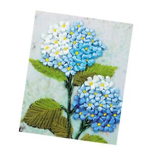 1x Silk Ribbon Cross Stitch Embroidery Kit Flower Design Home Decor Handmade