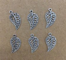 Wholesale 20pcs Tibet Silver Leaves Charm Pendant Beaded Jewelry Findings DIY