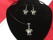 Turtle necklace and earrings FUN dangle nautical scuba diving equipment GIFT #12