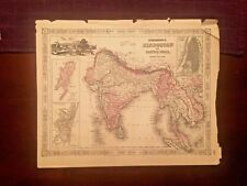 1863 Johnson & Ward Hand Colored Atlas Map of HINDOSTAN or BRITISH INDIA