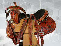 ARABIAN HORSE WESTERN SADDLE 15 16 TRAIL PLEASURE TOOLED LEATHER BARREL TACK SET