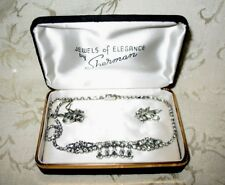 "Sherman Jewels of Elegance - Script Signed Sherman Clear Necklace 16"" & Earrings"