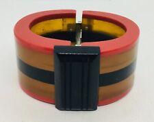 Antique Black & Red Stripe Bakelite Hinged Clamper Bracelet