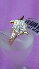 Yellow Gold Overlay St Silver Simulated Diamond Flower Ring Size R  NWT