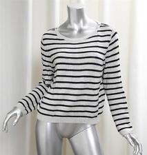 THEORY Gray Black Stripe Zipper Epaulet Pullover Crewneck Sweater sz. Medium
