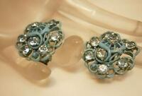 Pretty Vintage 1940's Blue Rhinestone Enamel Earrings                      1302d