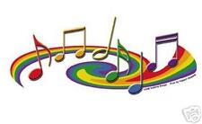 Rainbow Music Notes Bumper Sticker Lesbian Gay Pride