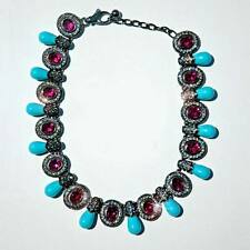 Faux Turquoise & Fuchsia Stones  Necklace by  Replica Collection Made in Italy