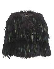Lipsy pluma de Piel de Imitación Negro Tamaño 6-8 Chaqueta de abrigo para Mujer Damas Kim Kardashian