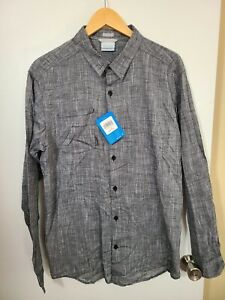 1 NWT COLUMBIA MEN'S SHIRT, SIZE: LARGE, COLOR: GRAY HEATHER (J65)