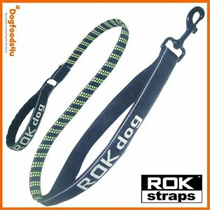 ROK dog leash lead - green and black with light reflective - Dogfoods4u **SALE**