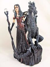 Fairy holding staff with Dragon Guardian Mythical Fantasy figurine