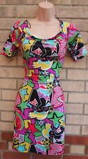River Island Funky ASTRATTO MULTI COLORE BODYCON TUBE MATITA Graffiti Dress 14 L