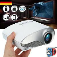 3D Full HD 1080P Mini Projektor LED Multimedia Heimkino Beamer USB VGA HDMI .