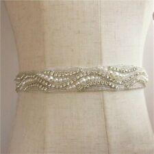 Bride Wedding Dress Belt Bridal Hand-stitched Rhinestone Sash Waist Accessories