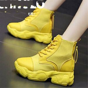 Fashion Women Back Zip Platform Wedge Boots Sneakers Casual Outdoor Comfort Shoe