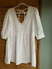 ASOS White Polkadot Cotton Sundress Dress UK 8