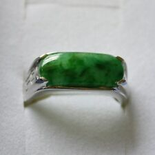 Size 8 1/4 * Certified Natural (A) Emeral Green Jadeite JADE 18K White Gold Ring
