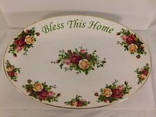 VINTAGE 1962 ROYAL ALBERT OLD COUNTRY ROSES BLESS THIS HOME OVAL SERVING PLATTER