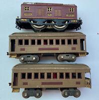 LIONEL PRE-WAR No.8 TRAIN ENGINE W/PULLMAN 337 PASSENGER & 338 OBSERVATION CARS