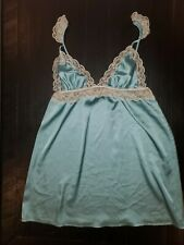 Victoria Secret Chemise Satin Lace Slip Babydoll Nightgown Lingerie Medium Blue