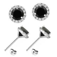 1-Carat-Black-Diamond-Halo-Solitaire-Push-Back-Martini-Earrings-14K-White Gold