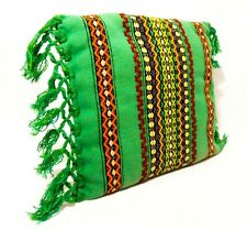 PERUVIAN MID-20TH C VINT HAND WOVEN WOOL THROW PILLOW IN GREEN W/STRIPES/FRINGE