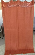 Arhaus Mohair Blend Crochet Trim Orange Throw Blanket 46 x 68