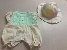 American Girl Bitty Baby Doll  Beach Fun Set Outfit Romper And Hat  Retired HTF