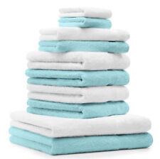 Betz  Juego de 10 toallas PREMIUM 100% algodón de color blanco y turquesa