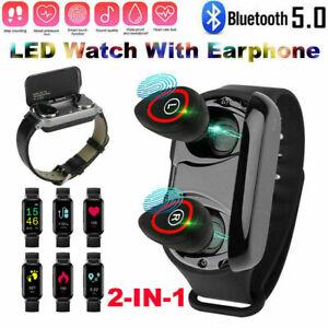 2 in 1 Smart Wristband Watch Wireless Bluetooth 5.0 Earphone Earbuds Headset LED