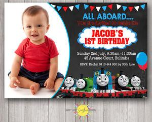 Printable Boy Birthday Chalkboard Photo Invitation Thomas the Tank Engine AnyAge