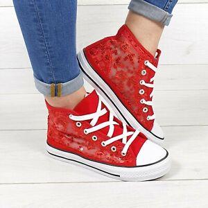 Scarpe Donna Sneakers Rosse In Pizzo