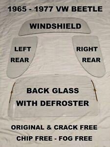 VW BEETLE BUG WINDSHIELD, QUARTERS, & BACK GLASS 1965 1966 1967 1968 1969 1970