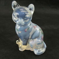 vintage Fenton art Glass Opalescent clear Cat Hand Painted Flowers signed